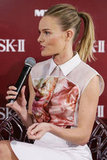 Kate Bosworth spoke into the mic at a promotional event for her skin care line in Sydney.