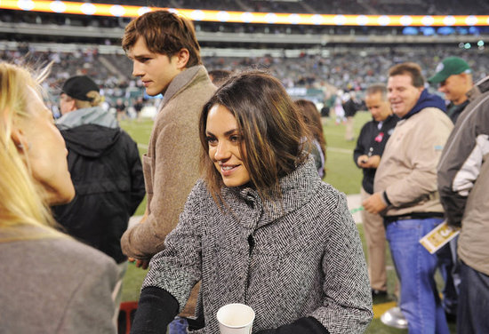 Mila Kunis and Ashton Kutcher Hit the Field For Football