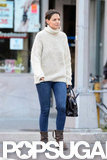 Katie Holmes stepped out in a cream sweater in NYC.