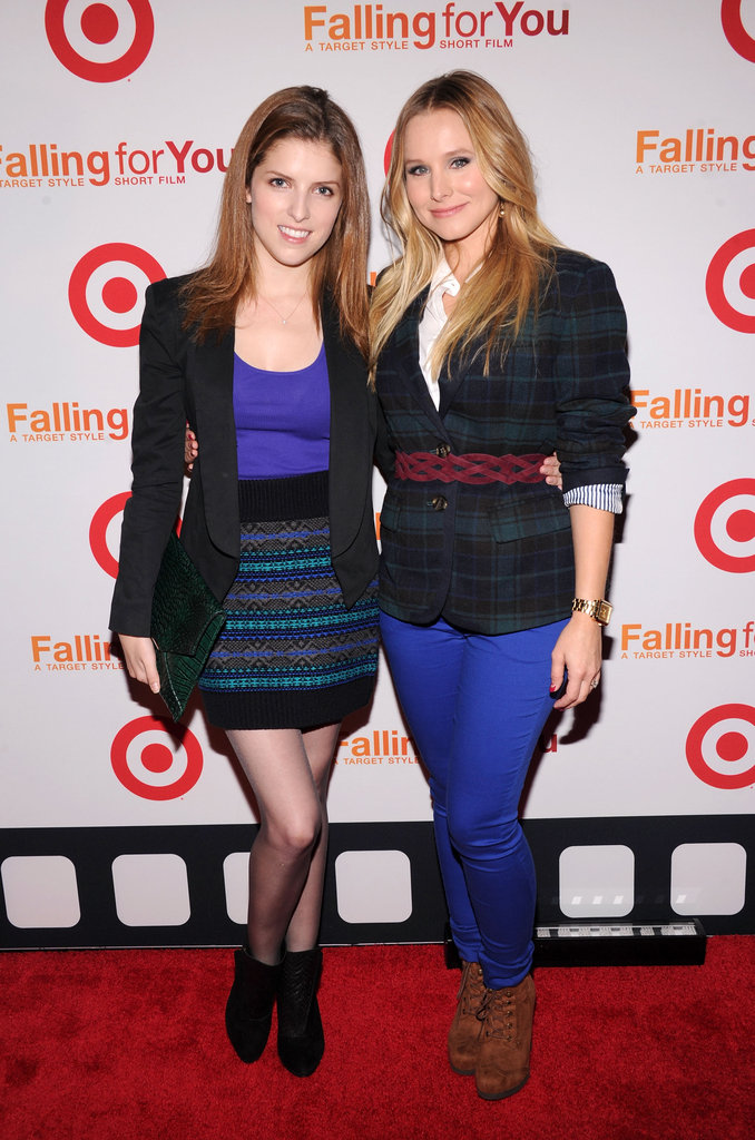 Anna Kendrick and Kristen Bell kept close at the Target Falling For You miniseries launch in New York on October 10.
