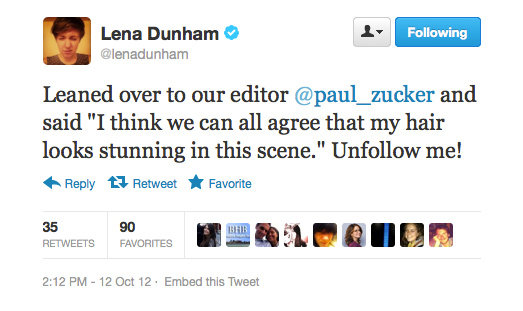 Lena Dunham has narcissistic moment, instantly regrets.