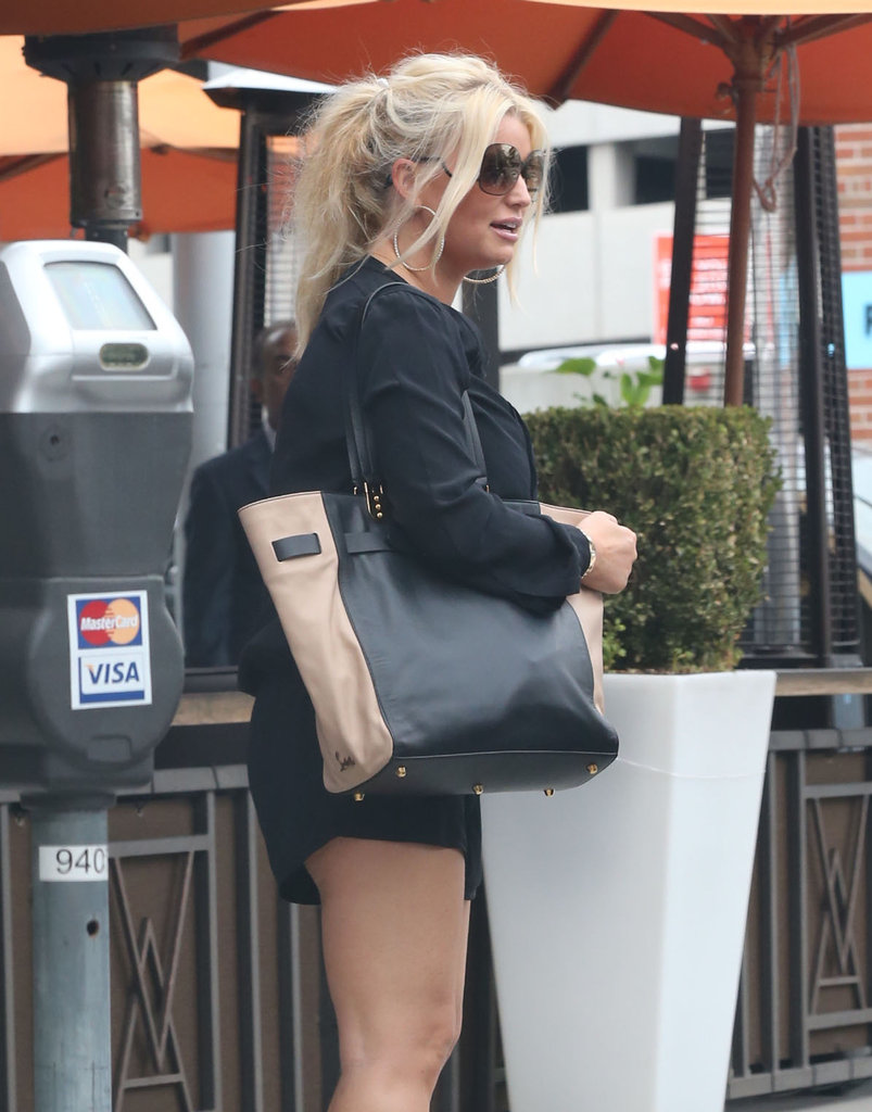 Jessica Simpson Pairs Short Shorts and High Heels to Shop