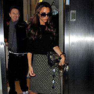 Victoria Beckham Wearing Printed Skirt