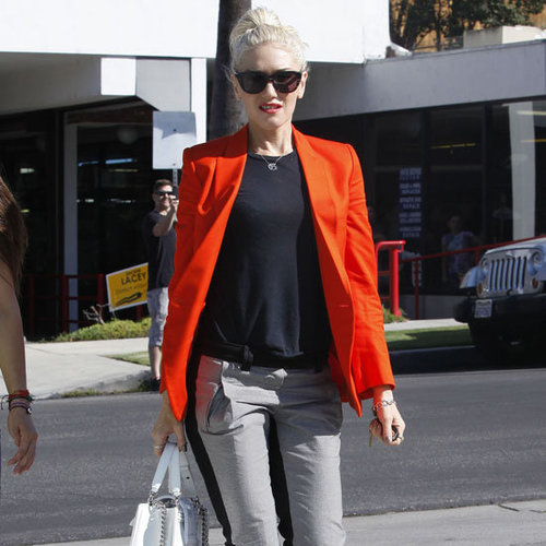 Gwen Stefani Wearing Orange Blazer