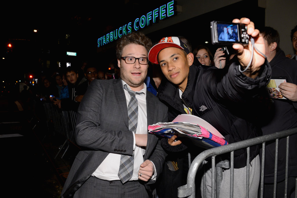 Seth Rogen posed with fans at the Night of To Many Stars benefit in NYC.