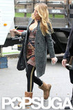 Blake Lively wore a printed minidress on the Gossip Girl set in NYC.