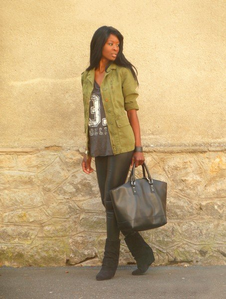 Take a t-shirt from basic to street chic with an anorak, leather bottoms, and luxe-looking  accessories. Source: Lookbook.nu