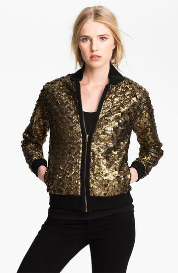 This L'Agence Foiled Feather Bomber Jacket ($495) is the perfect way to glitz up an LBD while staying warm on a night out.
