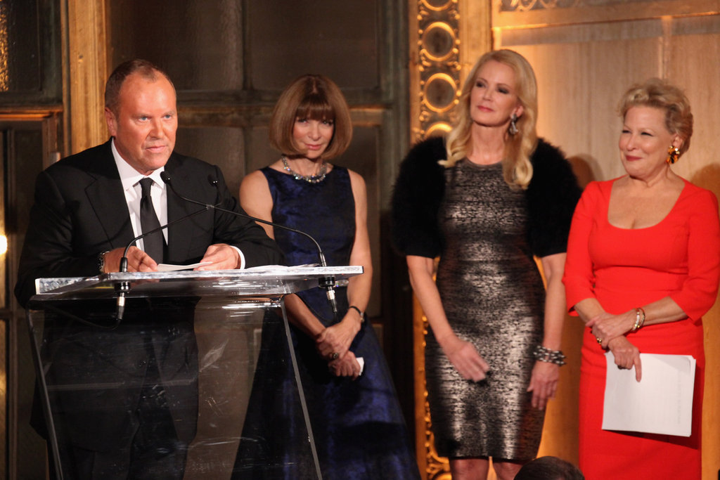 Michael Kors, Anna Wintour, Blaine Trump, and Bette Midler appeared on stage at the Golden Heart Gala in NYC.