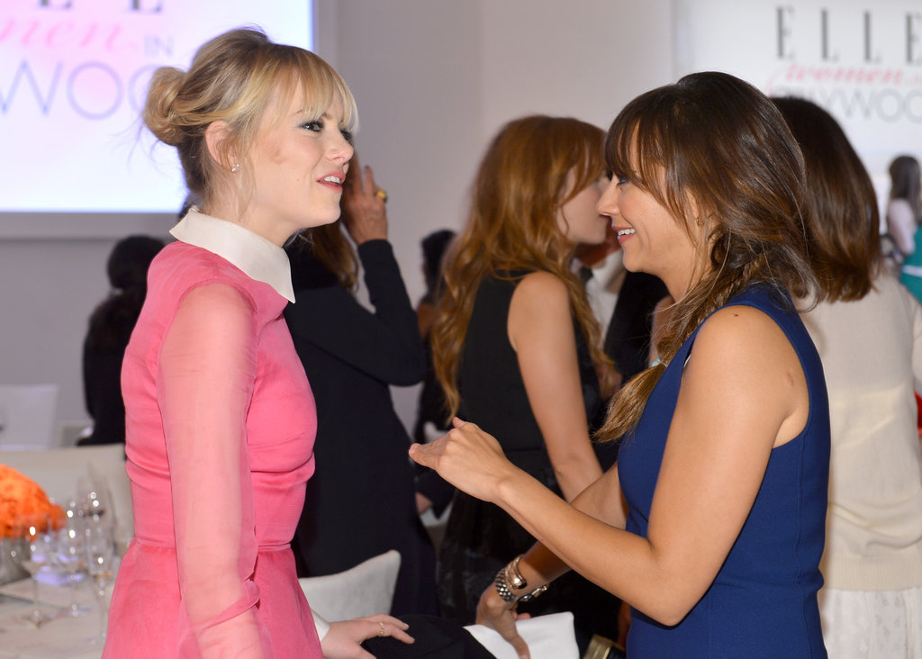 Emma Stone and Rashida Jones chatted at the Elle Women in Hollywood Awards.