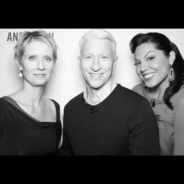 Anderson Cooper posed with his guests, Cynthia Nixon and Sara Ramirez. Source: Instagram user andersoncooper