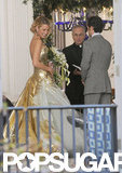 Blake Lively wore a gold wedding dress on the set of Gossip Girl.