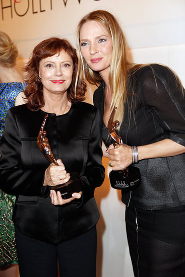 Susan Sarandon and Uma Thurman posed for photos with their awards at the Elle Women in Hollywood Awards in LA.