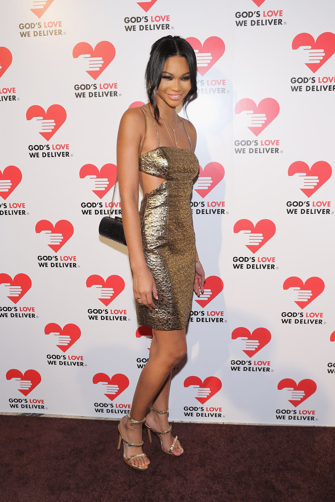 Chanel Iman wore a gold dress at the Michael Kors Golden Heart Gala in NYC.