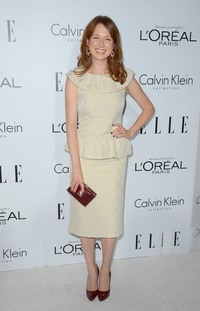 Ellie Kemper went the ladylike route in a peplum-trimmed Moschino dress.