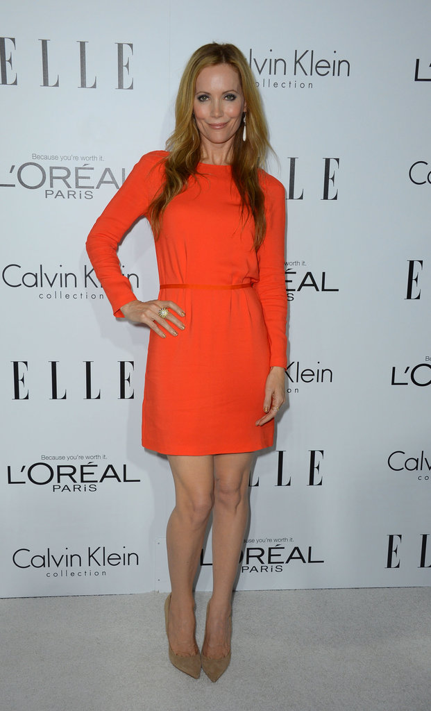 Leslie Mann looked lovely in a fresh tangerine-hued Calvin Klein minidress.
