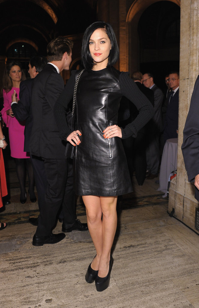 Leigh Lezark donned a black leather-infused minidress from the Michael Kors Fall '12 lineup.