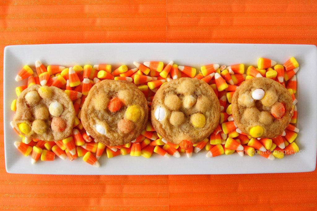 White Chocolate Candy Corn M&M Cookies