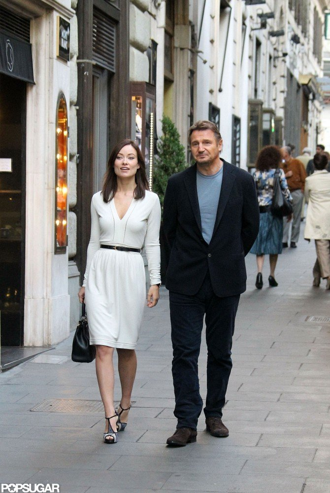 Olivia Wilde and Liam Neeson filmed a scene for their film The Third Person in Rome.