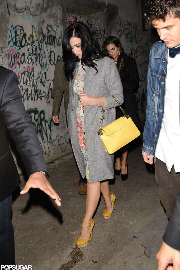 Katy Perry wore yellow shoes and a yellow handbag while out for dinner with John Mayer in NYC.