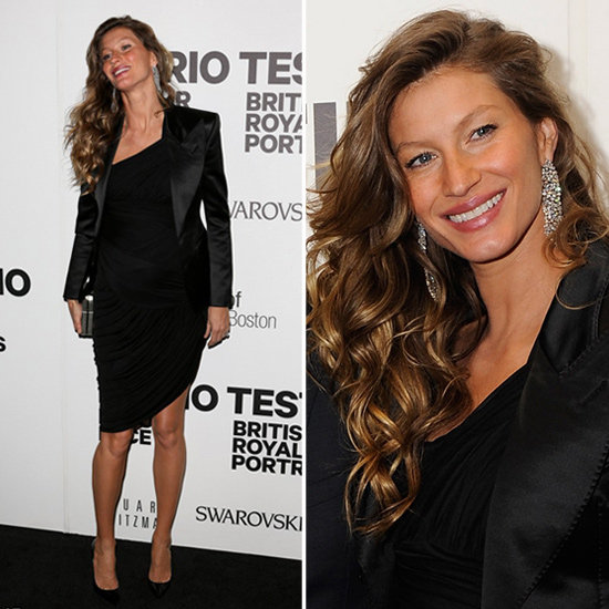 Gisele Bundchen Wearing Black Satin Blazer