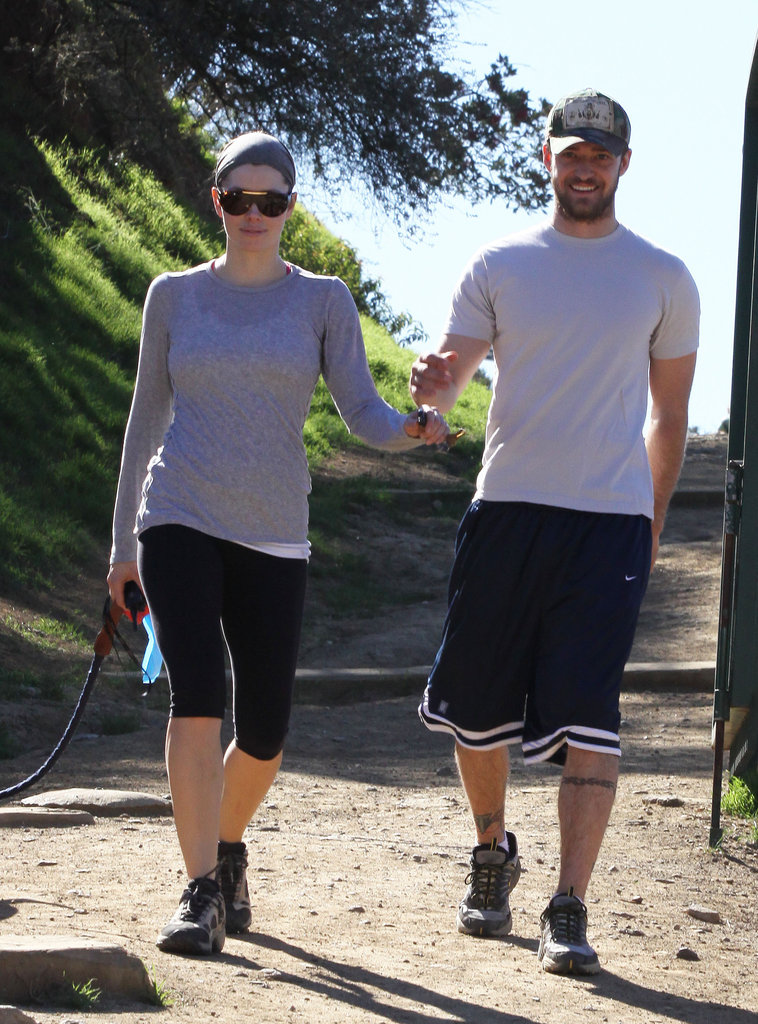 Justin Timberlake and Jessica Biel went hiking in LA in January 2009.