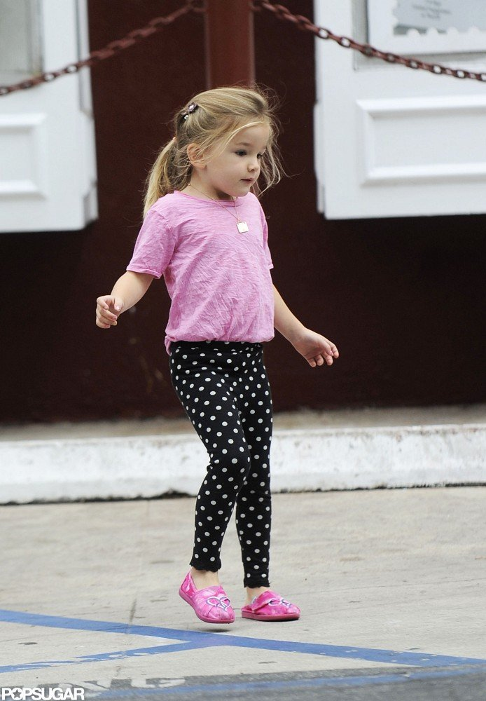 Seraphina Affleck matched her pink shoes with her shirt and a pair of polka-dot pants.