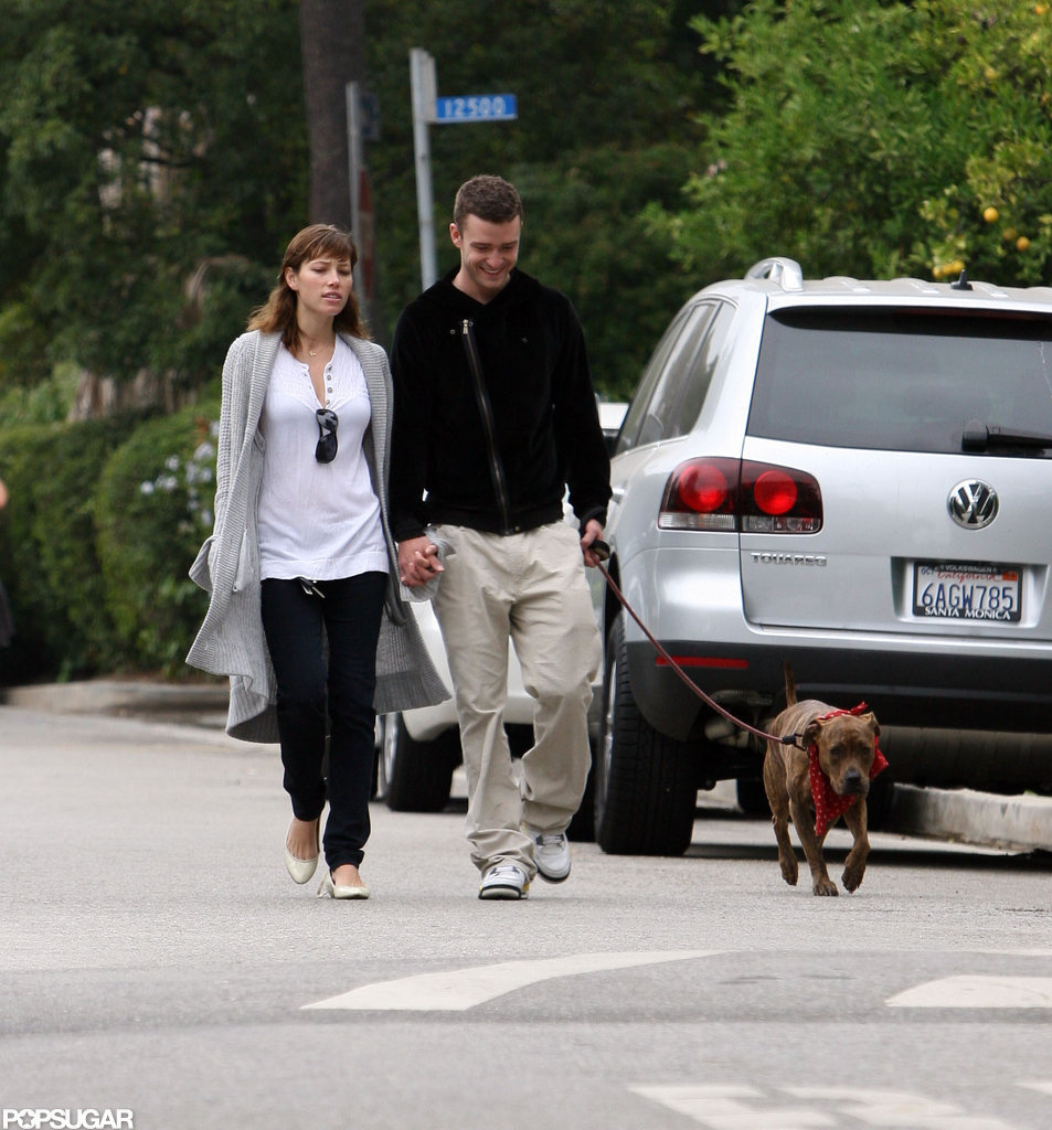 Justin Timberlake and Jessica Biel walked their dog in LA in June 2008.
