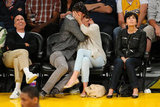 Jessica Biel and Justin Timberlake embraced for the cameras while sitting front row at a May 2012 Lakers game.