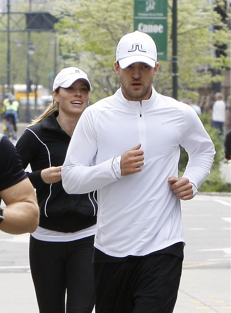 Justin Timberlake and Jessica Biel jogged around NYC together in April 2009.