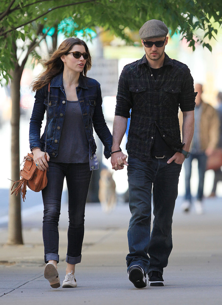 Jessica Biel and Justin Timberlake held hands in NYC in May 2010.