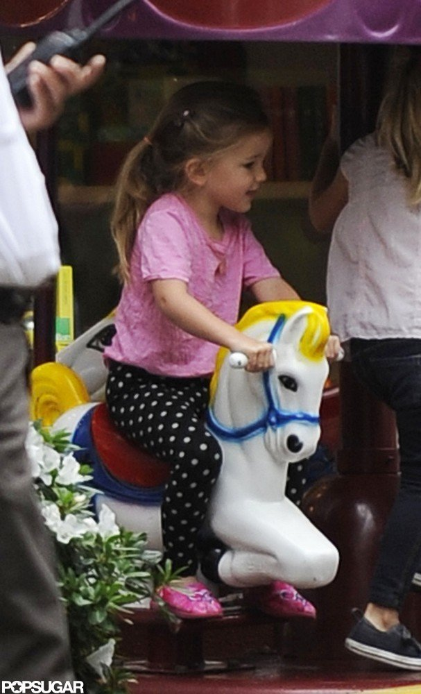 Seraphina Affleck climbed onto a fake horse in LA.