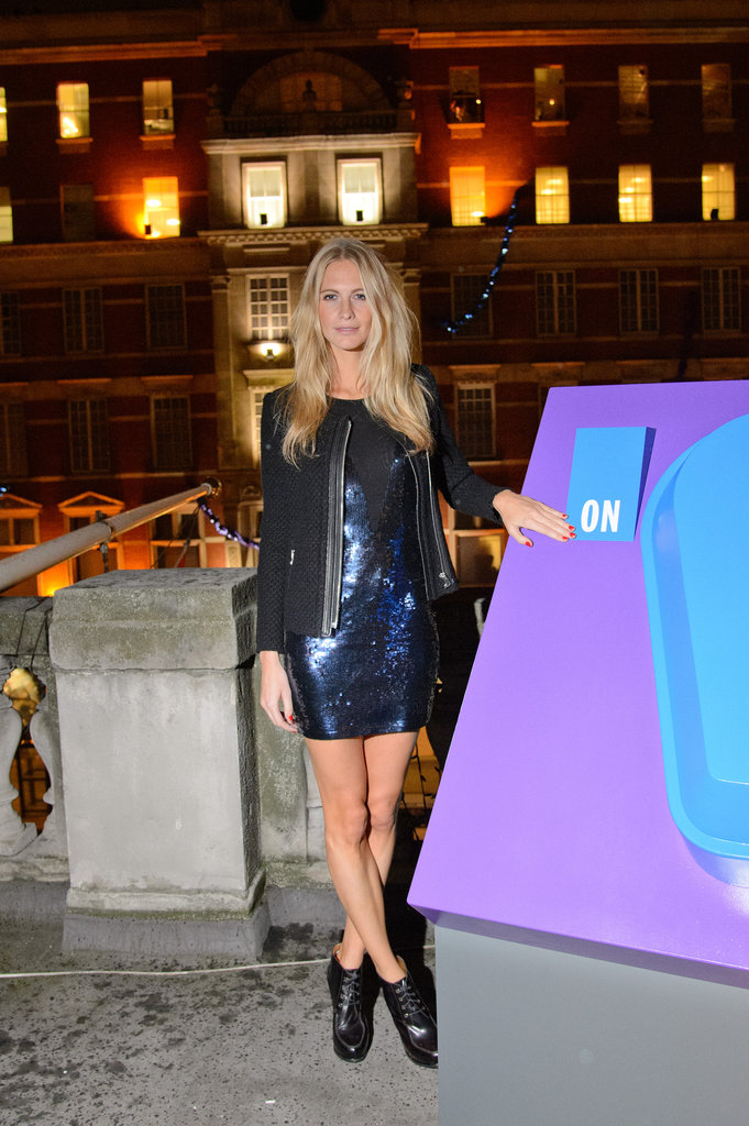 Poppy Delevingne showed off a moody, sequined look while out in London.