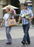 Britney Spears got a hand with her flowers from a friend.