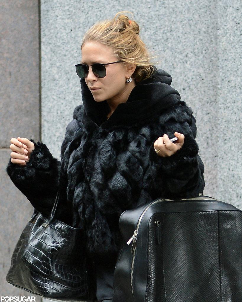 Mary-Kate Olsen wore an all-black ensemble in SoHo.