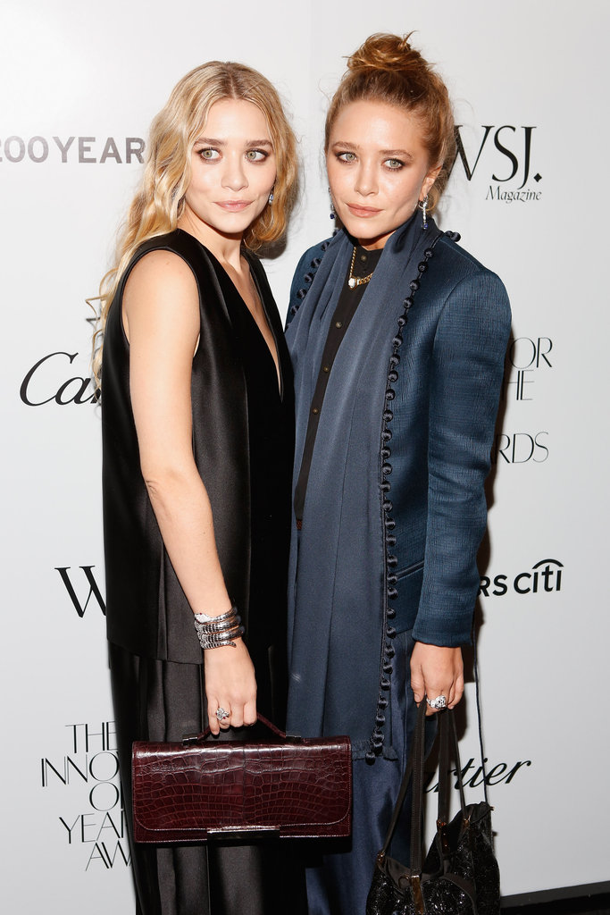 Mary-Kate Olsen chose a blue outfit to attend the awards.