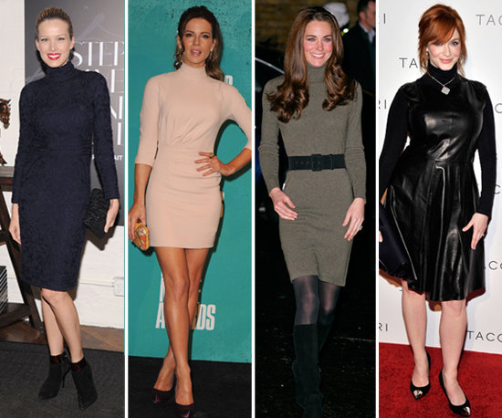 Here's the celebrity proof that you should add a turtleneck sweater dress to your Fall wardrobe.