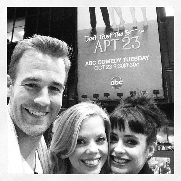 The cast of Don't Trust the B---- in Apartment 23 took pride in their NYC billboard. Source: Instagram user vanderjames