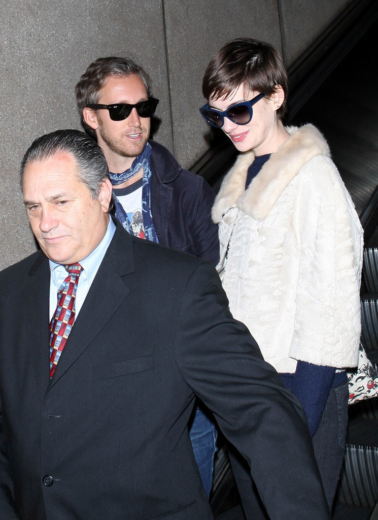 Anne Hathaway and Adam Shulman arrived in LA.