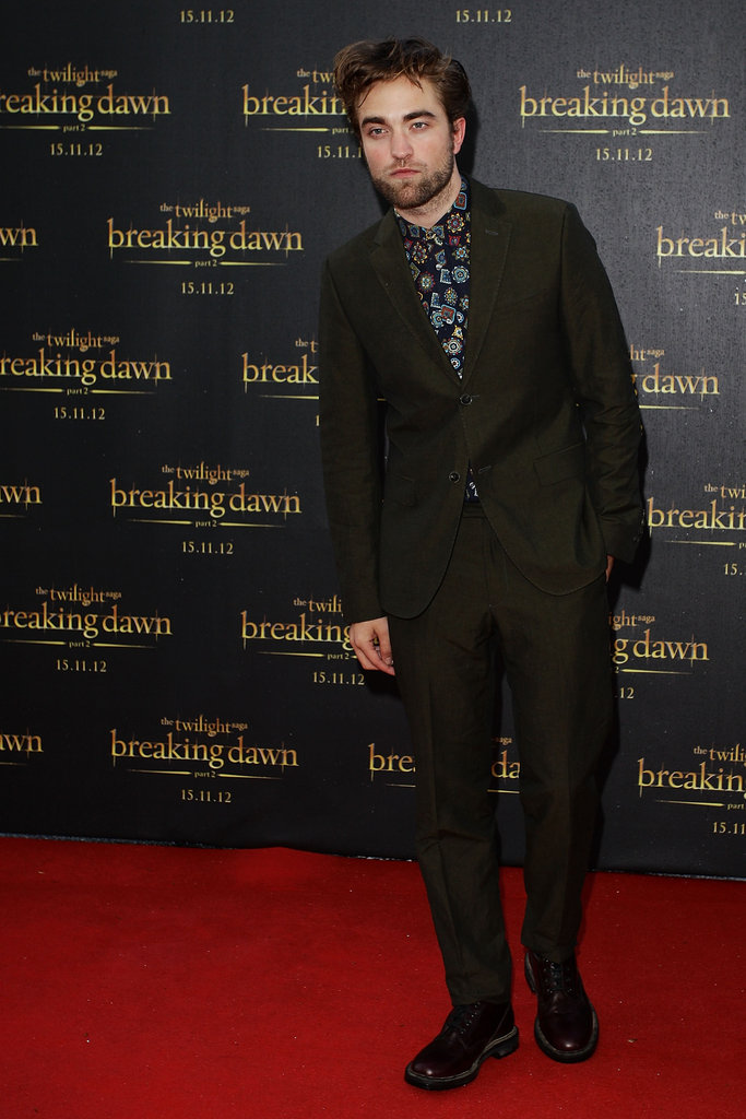 Robert Pattinson posed on the red carpet to promote Breaking Dawn - Part 2.