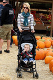 January Jones strolled with her son, Xander Jones, at Mr. Bones Pumpkin Patch.