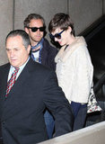 Anne Hathaway wore a cropped coat out in LA with husband Adam Shulman.