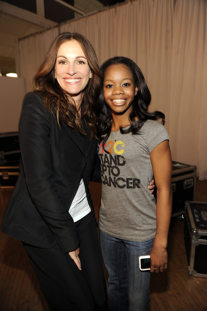 Julia Roberts and Olympic gymnast Gabby Douglas smiled backstage at an LA Stand Up to Cancer event in September 2012.
