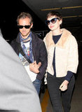 Anne Hathaway and Adam Shulman were at LAX.