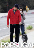 Mila Kunis wore jeans to walk with Ashton Kutcher in LA.