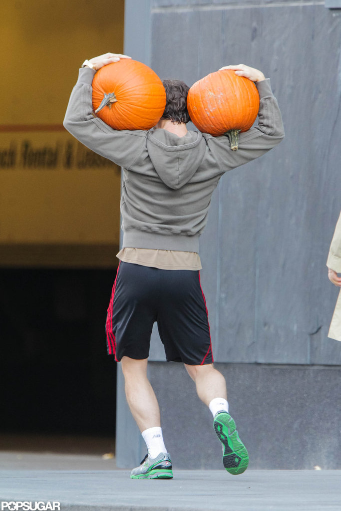 Hugh Dancy carried pumpkins around Toronto.