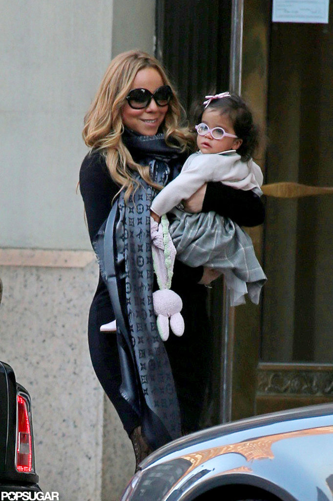 Mariah Carey carried Monroe Cannon on her hip.