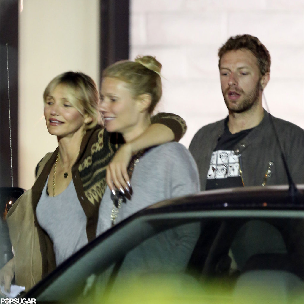 Chris Martin and Gwyneth Paltrow went to dinner with Cameron Diaz.