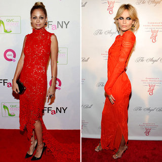 Colour Alert! Nicole Richie Wears Scanlan and Theodore and Natasha Poly Dons Roberto Cavalli Both in Orangey Red