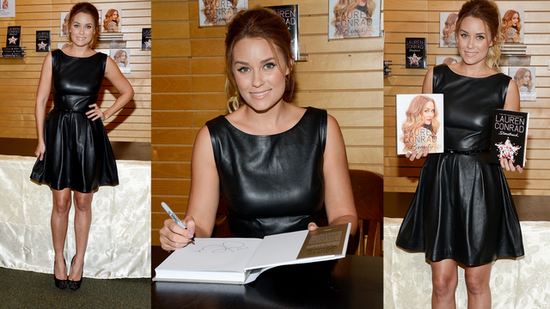 Lauren Conrad Styles Up a Leather LBD and Shares Her Fall Fashion Tip!